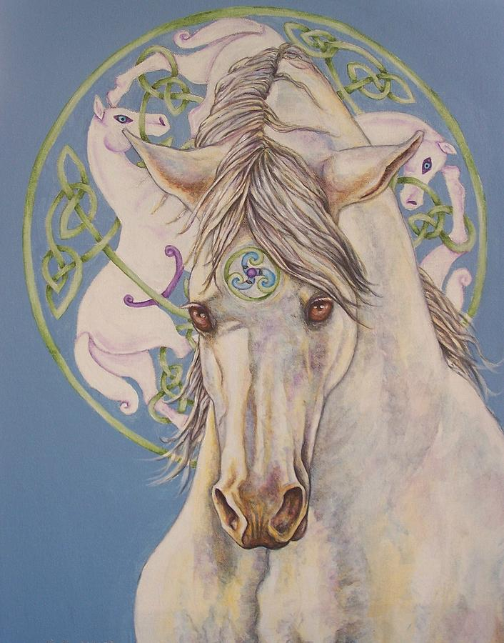 Celtic Painting - Epona The Great Mare by Beth Clark-McDonal
