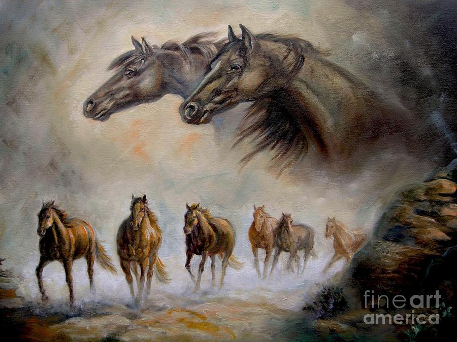 Equestrian horse painting Distand Thunder Painting by Regina Femrite