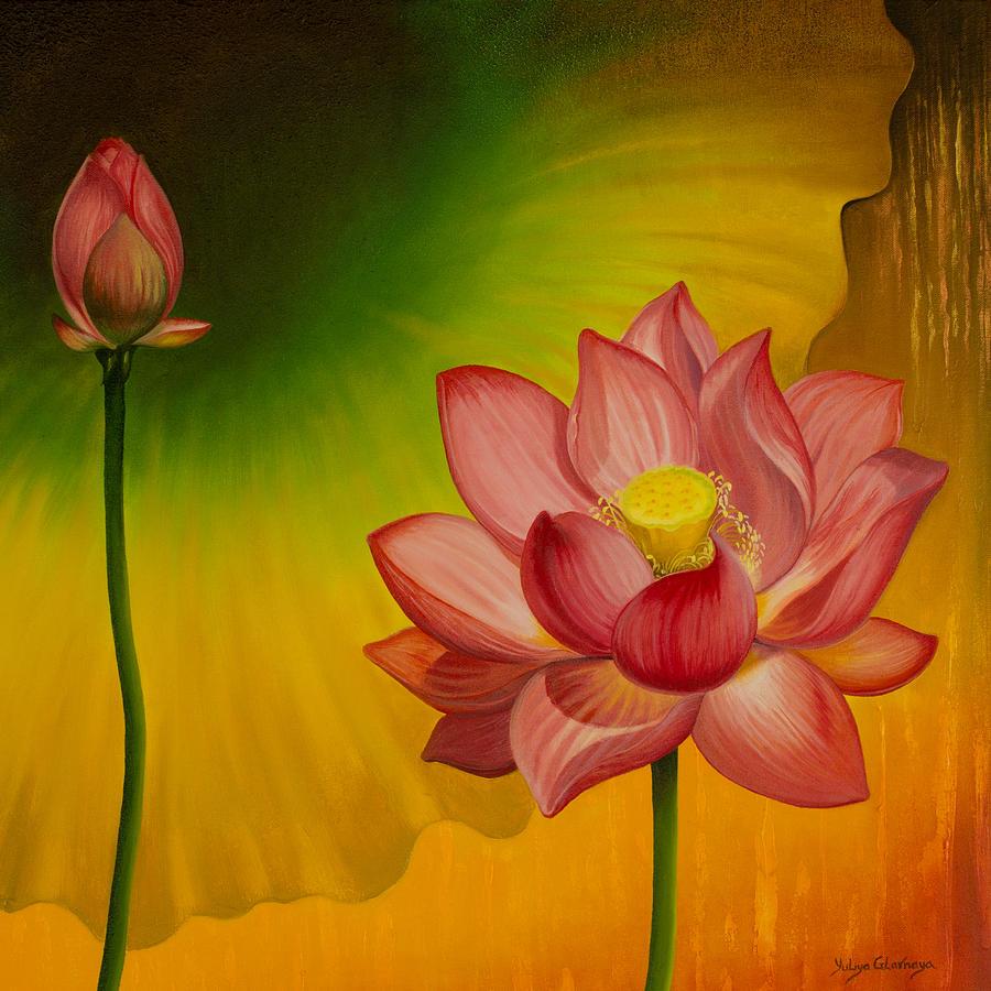 Lotus Painting - Equilibrium by Yuliya Glavnaya
