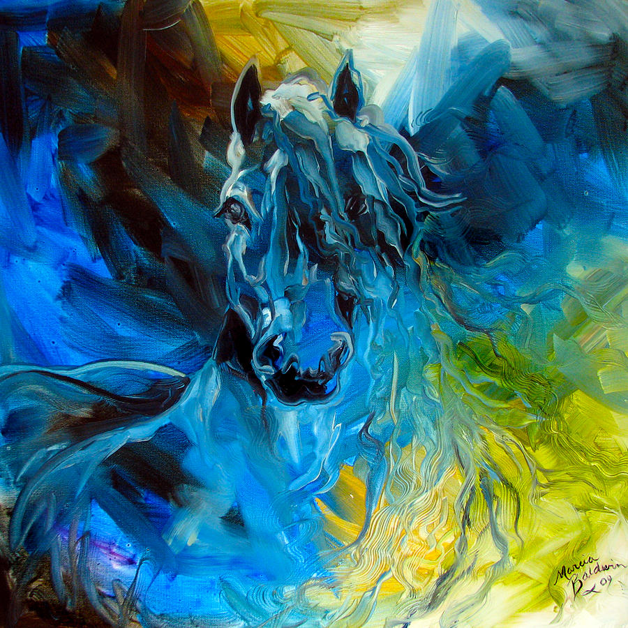 Horse Painting - Equus Blue Ghost by Marcia Baldwin