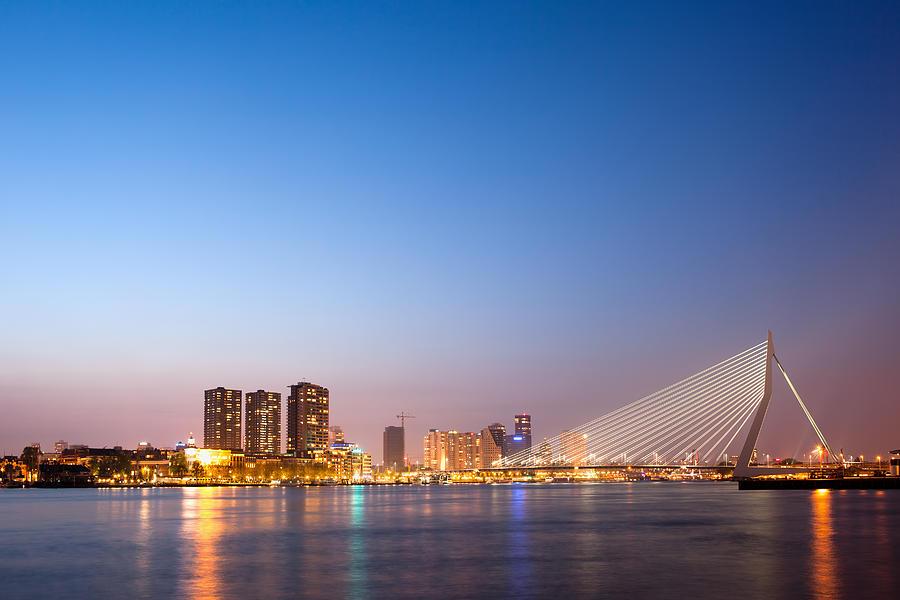 Rotterdam Photograph - Erasmus Bridge In Rotterdam At Dusk by Artur Bogacki