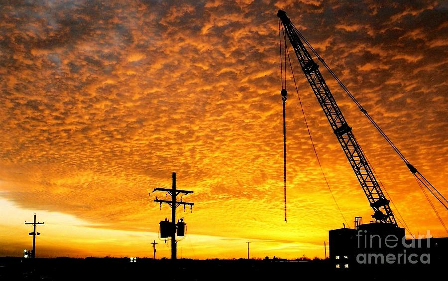 Erecting A Sunset In Beaumont Texas Photograph