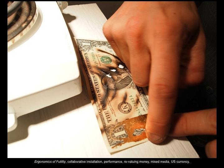 Burning Money Sculpture - Ergomonics by Ian Thomas