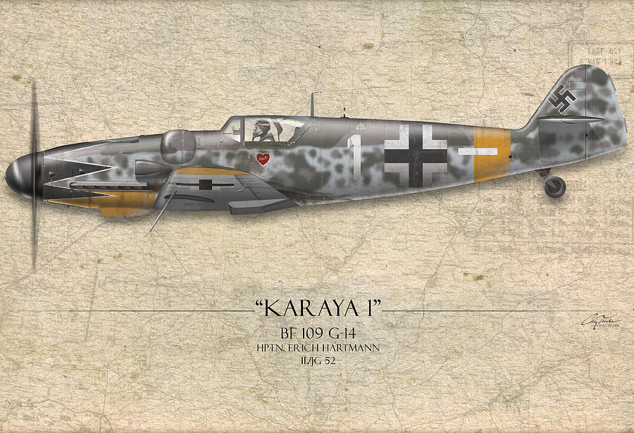 Aviation Painting - Erich Hartmann Messerschmitt Bf-109 - Map Background by Craig Tinder