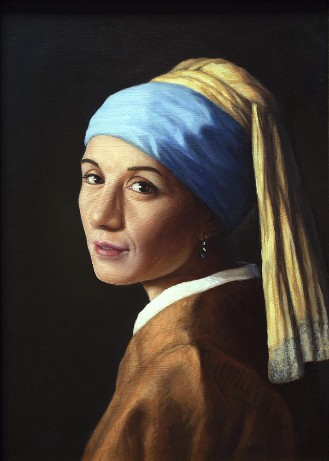 Girl With A Pearl Earring Painting - Erika With A Pearl Earring by James W Johnson