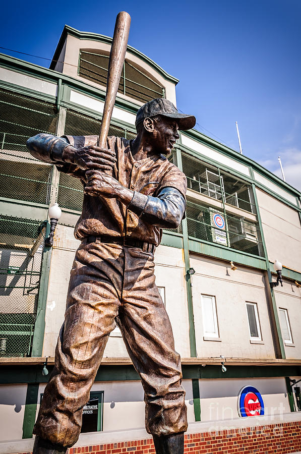 America Photograph - Ernie Banks Statue At Wrigley Field  by Paul Velgos