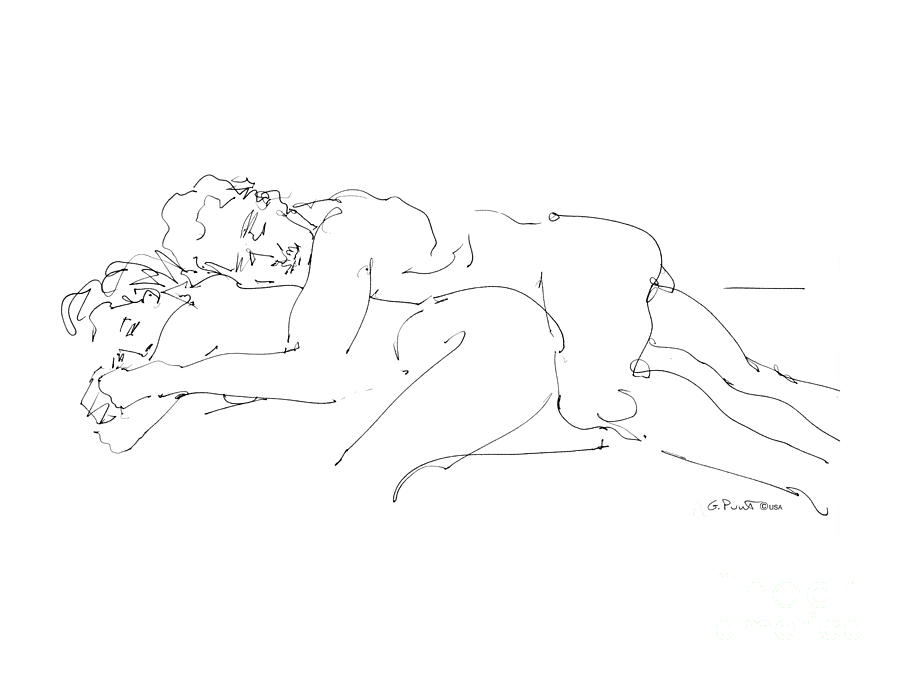 Couples Drawing - Erotic Art Drawings 2 by Gordon Punt