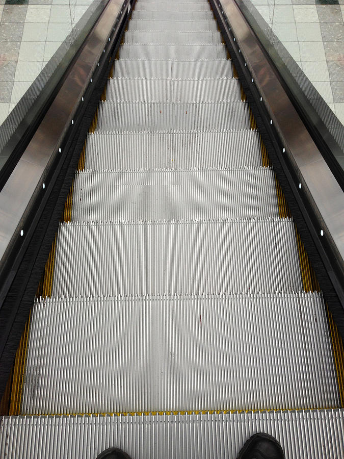 Down Photograph - Escalator by Les Cunliffe