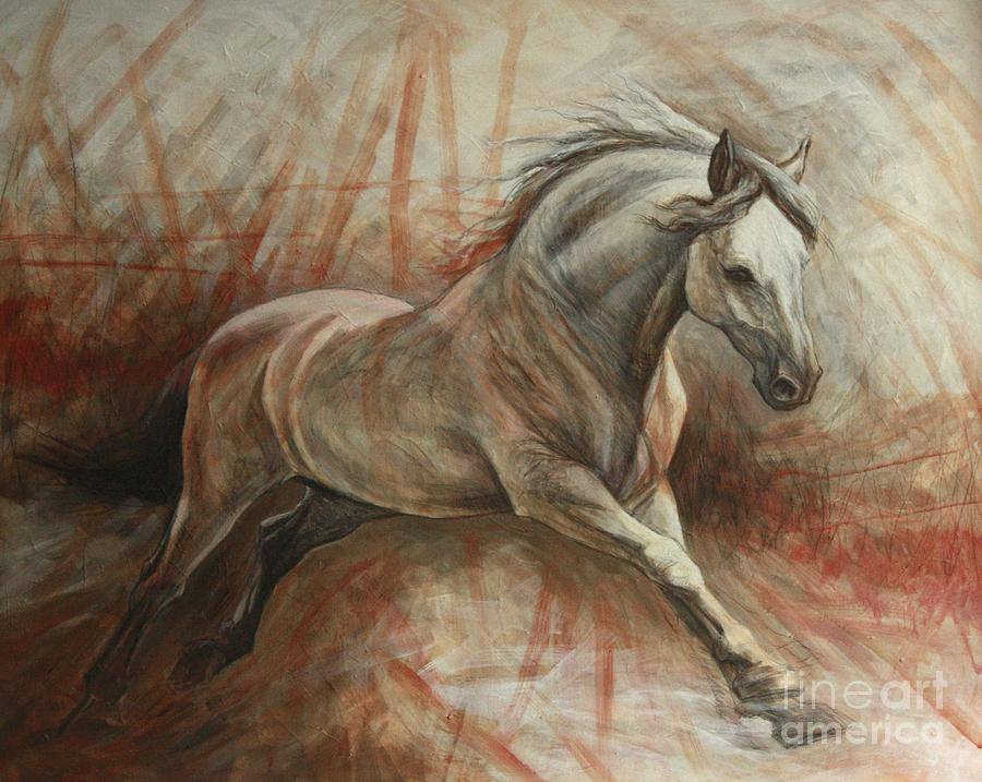 Horse Painting - Escape by Silvana Gabudean Dobre