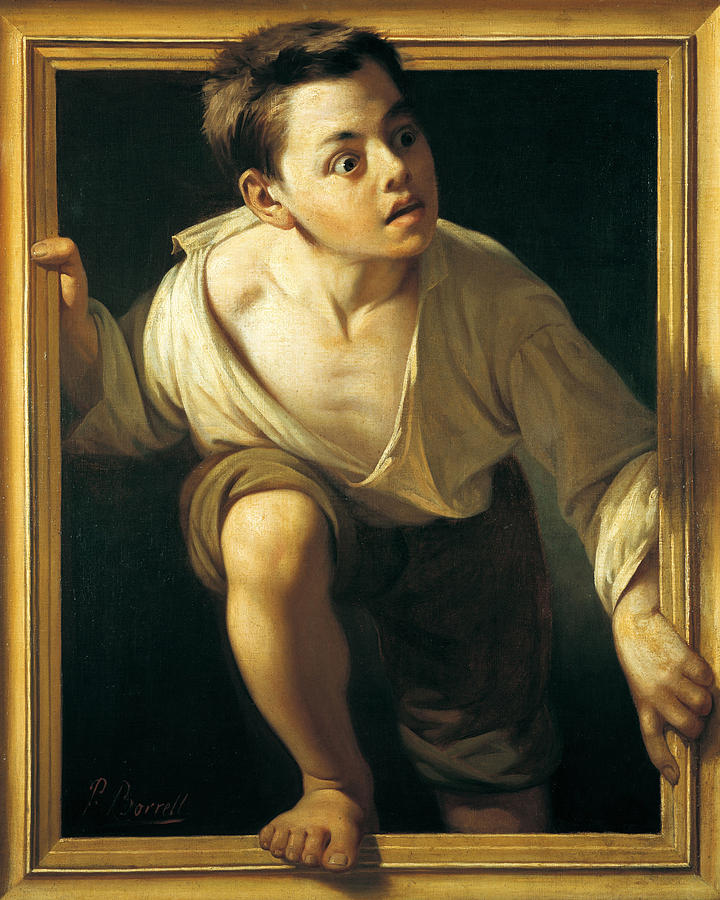 Boy Painting - Escaping Criticism by Pere Borrell Del Caso
