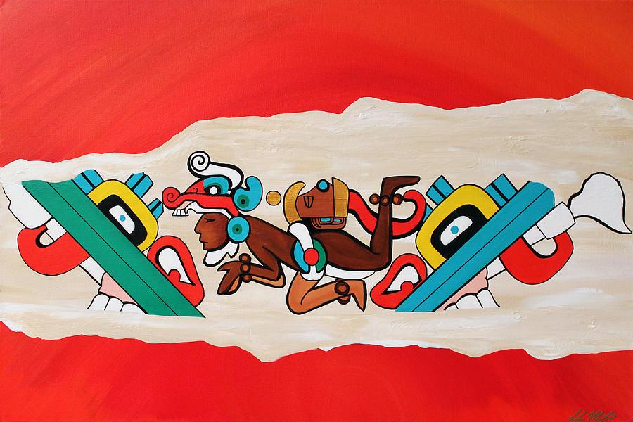 Maya Painting - Escaping the Mayan Underworld by Carlos Martinez