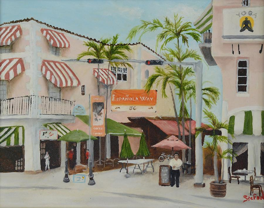 Sidewalk Cafe Painting - Espanola Way South Beach Florida by Stefon Marc Brown