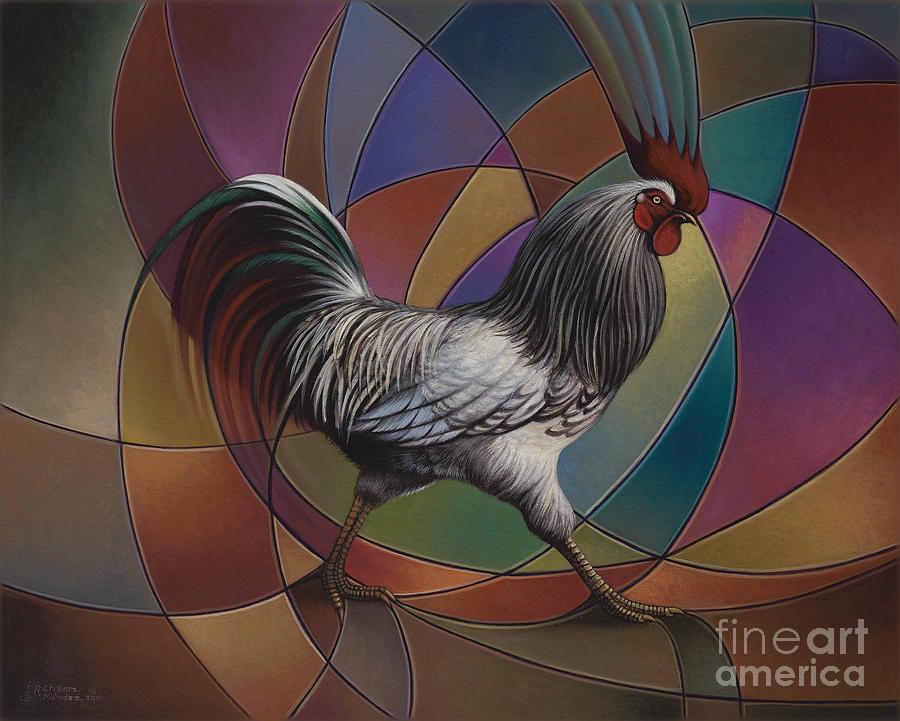 Rooster Painting - Espolones Or Spurs by Ricardo Chavez-Mendez