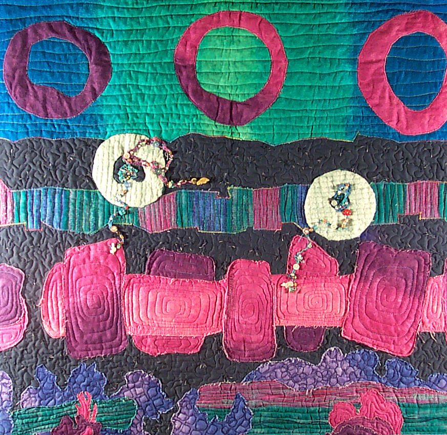 Textile Tapestry - Textile - Essential Circles by MtnWoman Silver
