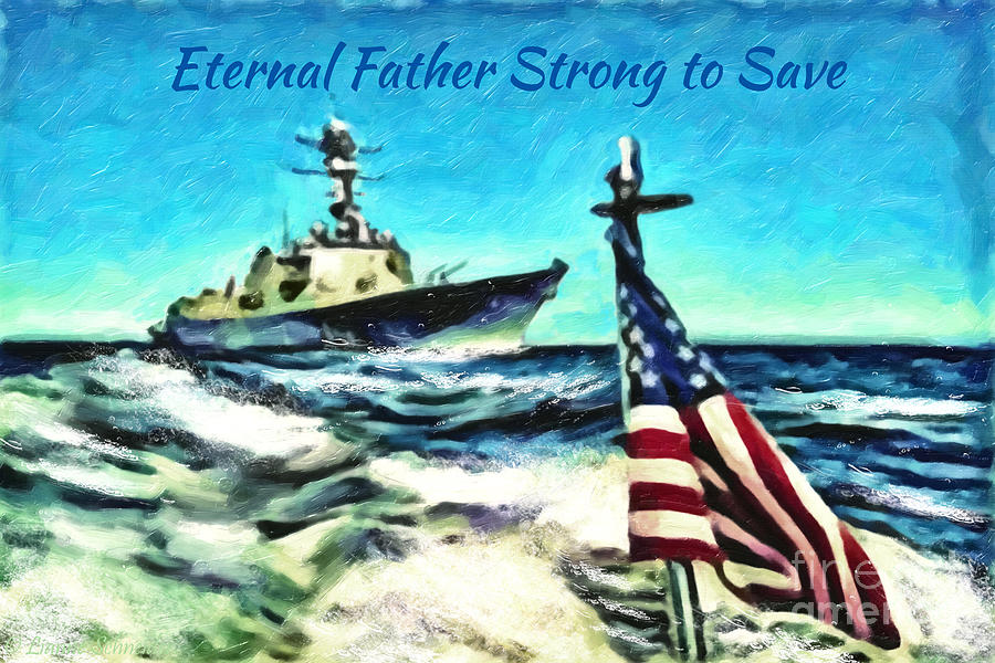 Ship Digital Art - Eternal Father Strong To Save... by Lianne Schneider