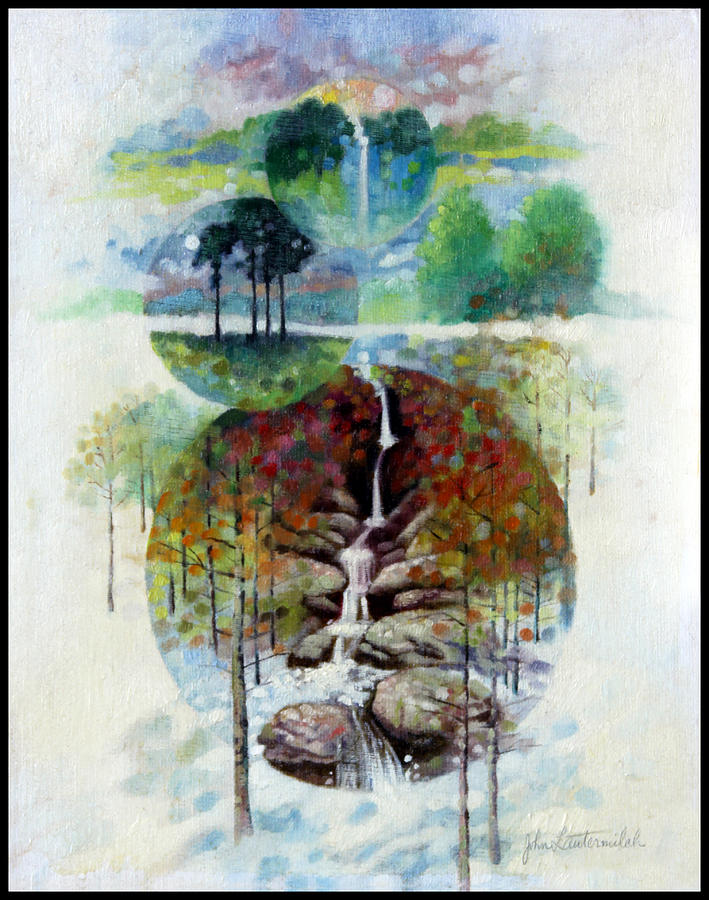 Waterfall Painting - Eternal Waterfall by John Lautermilch
