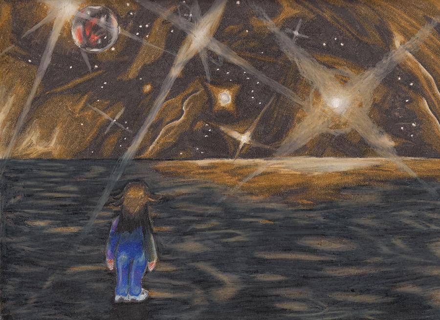 Pluto Drawing - Etestska Lying On Pluto by Keith Gruis