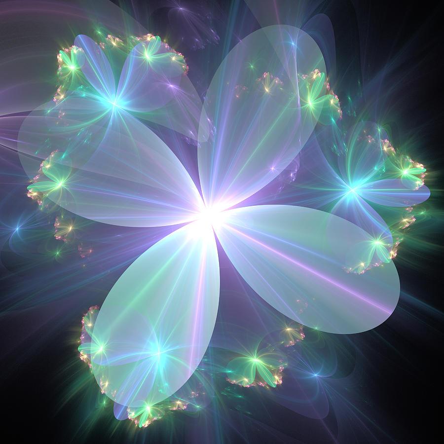 Ethereal Flower In Blue Digital Art By Svetlana Nikolova