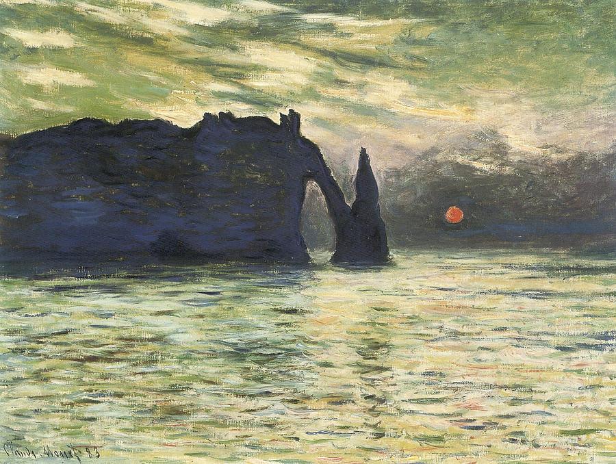 Etretat Painting - Etretat Sunset by Claude Monet