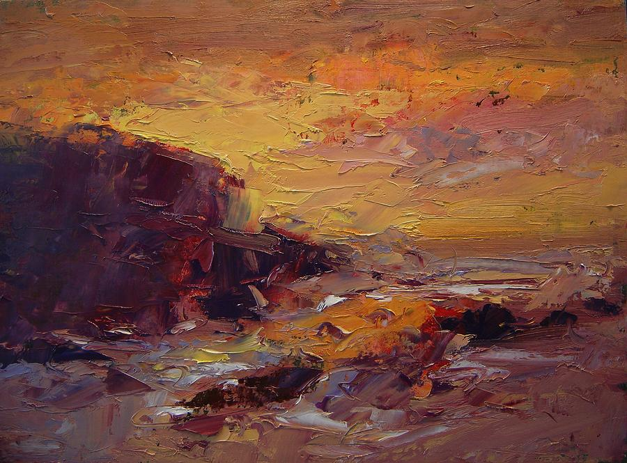 Etude Painting - Etude Spooners Cove At Sunset by R W Goetting
