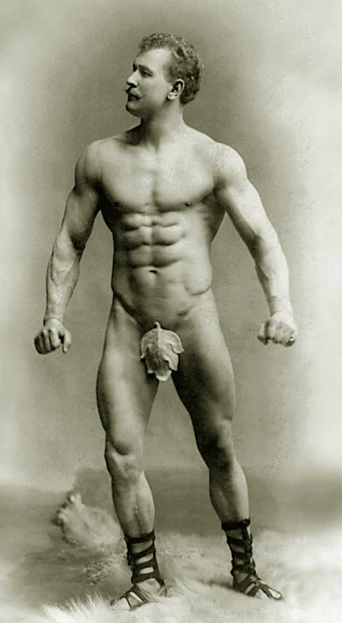 Male Photograph - Eugen Sandow In Classical Ancient Greco Roman Pose by American Photographer