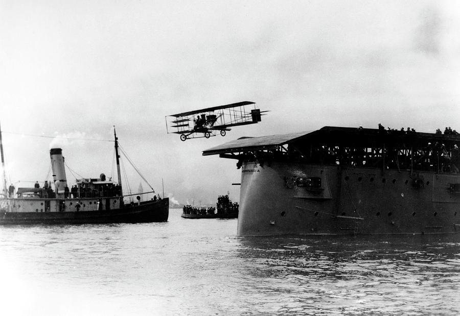 Eugene Ely Taking Off From Uss Pennsylvania Photograph by Us Navy/science  Photo Library