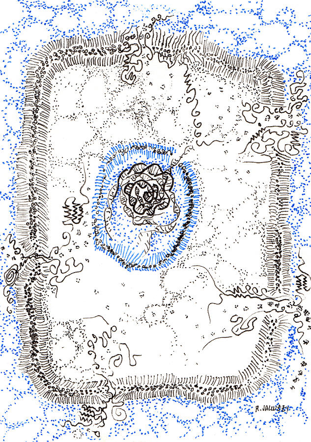 Atc Painting - Eukaryotic by Regina Valluzzi