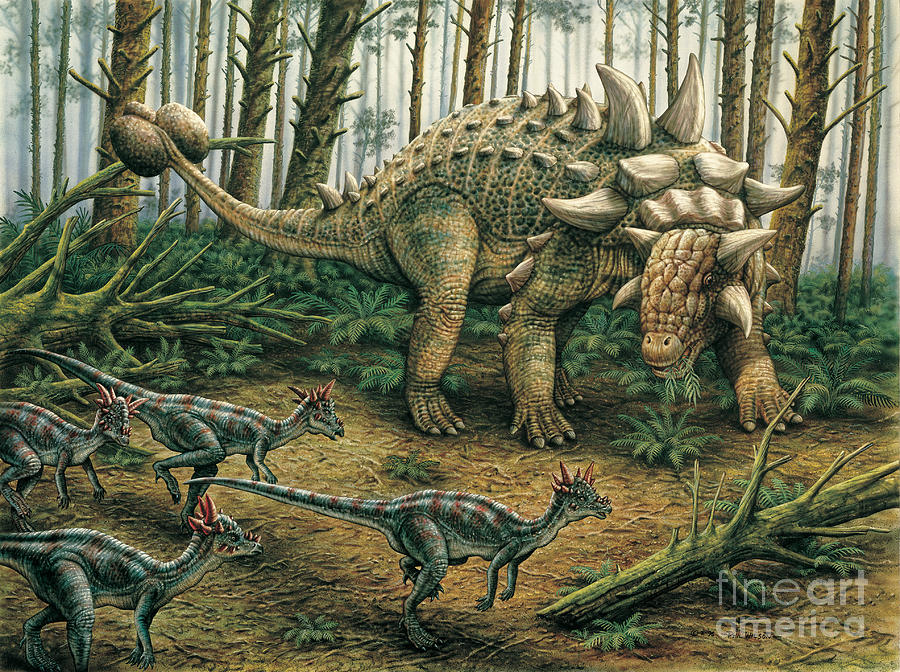 Dinosaur Painting - Euoplocephalus with Stygimoloch in foreground by Phil Wilson