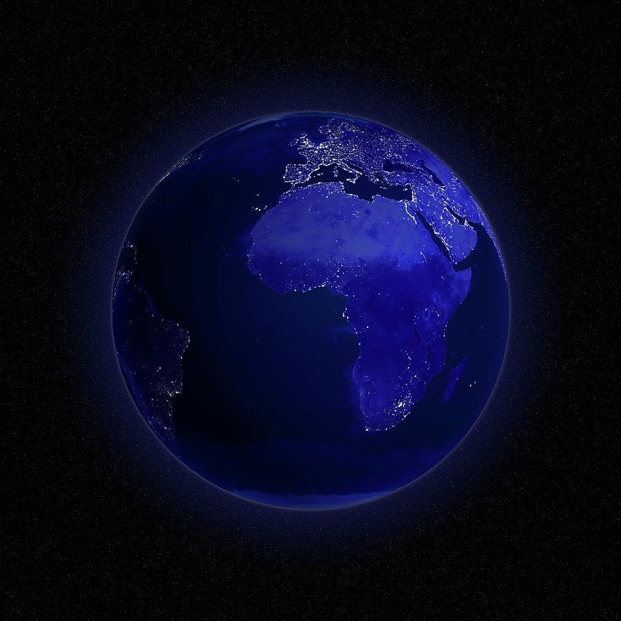 Europe And Africa At Night, Artwork Digital Art by Andrzej Wojcicki