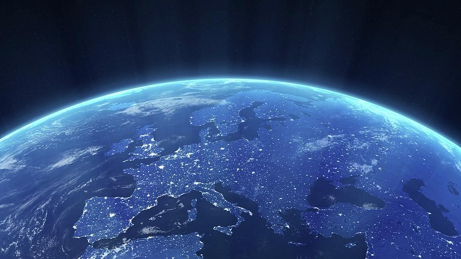 Europe At Night, Artwork Digital Art by Science Photo Library - Andrzej Wojcicki