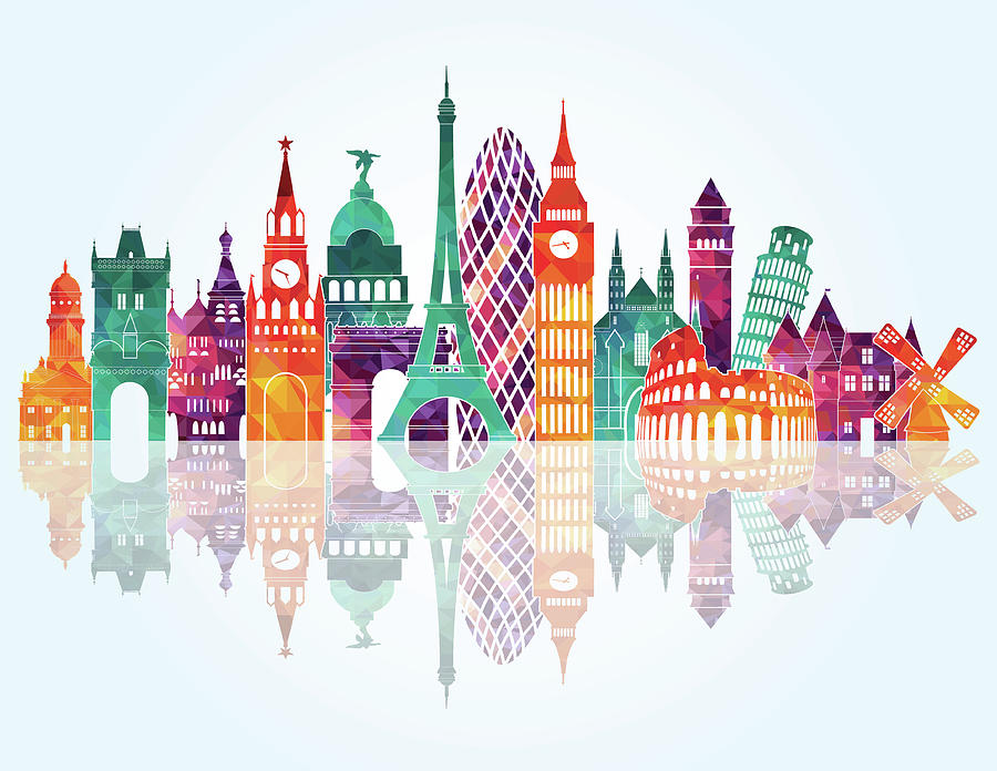 Europe Skyline Detailed Silhouette Digital Art by Katerina andronchik