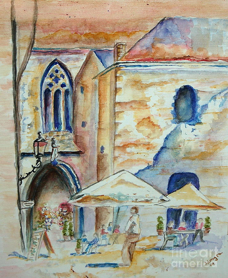 Cafe Painting - European Cafe by Tamyra Crossley
