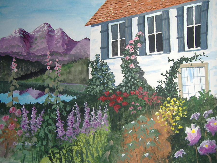 flowers painting european flower garden by norm starks - Flower Garden Paintings