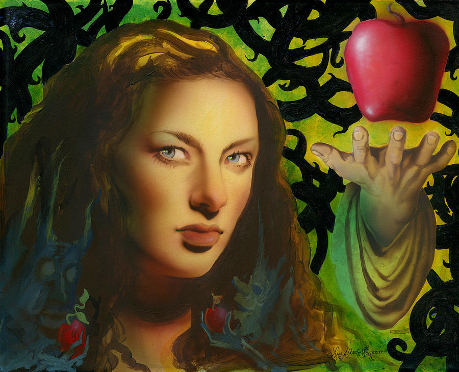 Adam And Eve Painting - Eve And The Apple by Luis  Navarro