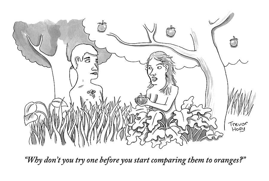 Eve Hands An Apple To Adam In The Garden Of Eden Drawing by Trevor Hoey