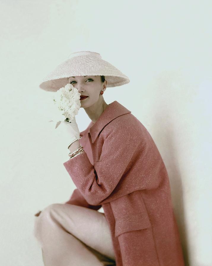 Evelyn Tripp Wearing Pink Photograph by Karen Radkai