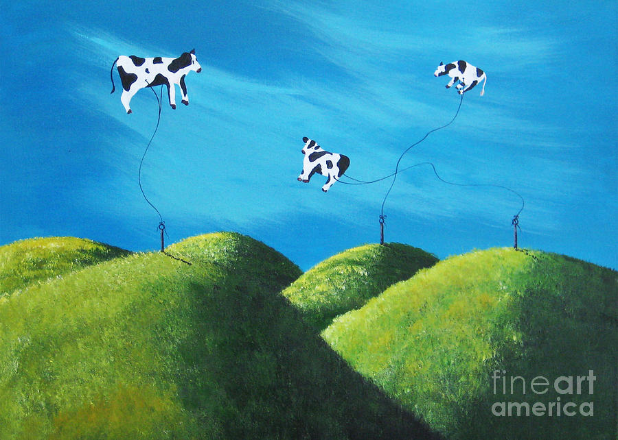 Cows Painting - Even Cows Have Strange Dreams By Shawna Erback Art by Shawna Erback