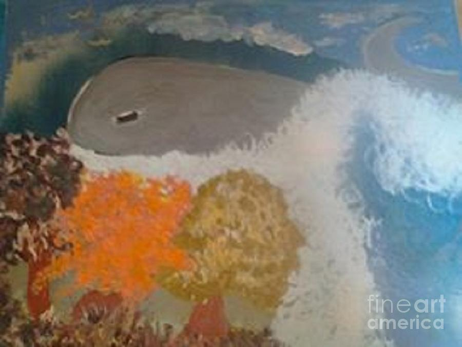 Nursery Room Painting - even Whales stop to smell he roses by Sherry Clarke