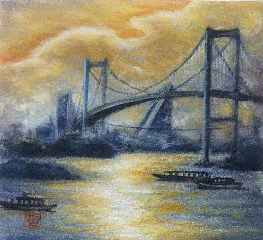 Japanese Painting - Evening Bridge by Tomoko Koyama