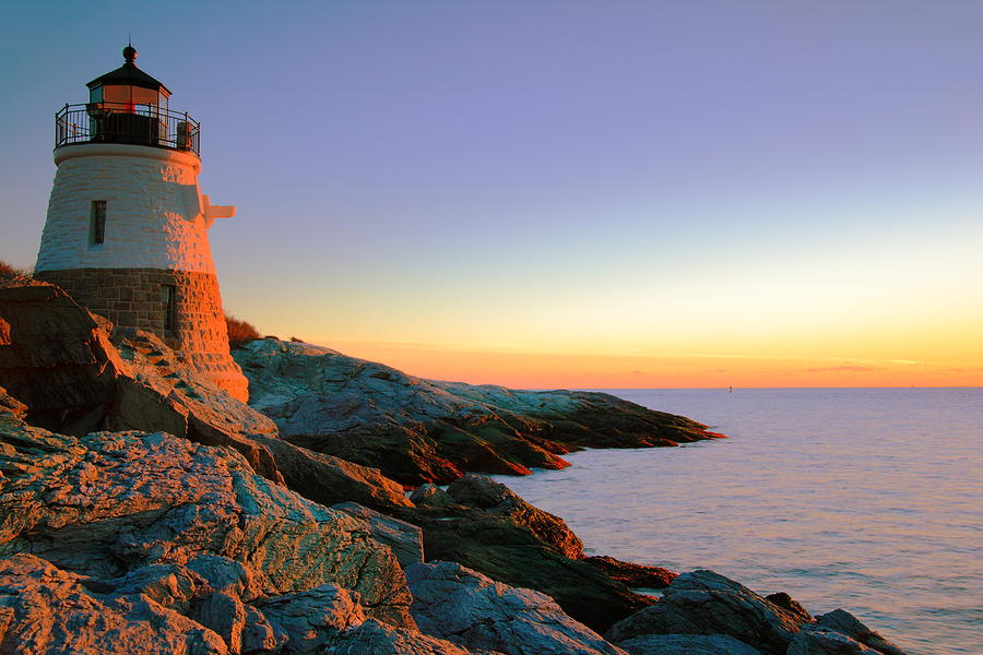 Lighthouse Photograph - Evening Calm At Castle Hill Lighthouse by Roupen  Baker