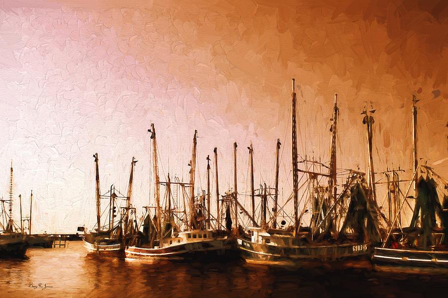 Boat Painting - Shrimp Boats - Dock - Coastal - Evening Dockside by Barry Jones