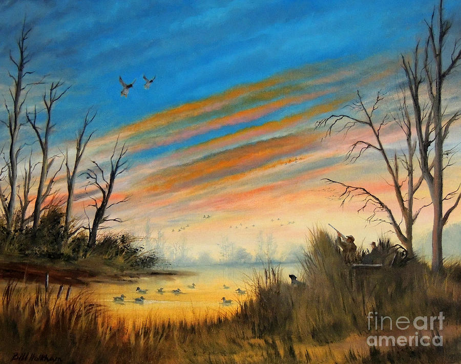 Duck Hunting Painting - Evening Duck Hunt by Bill Holkham
