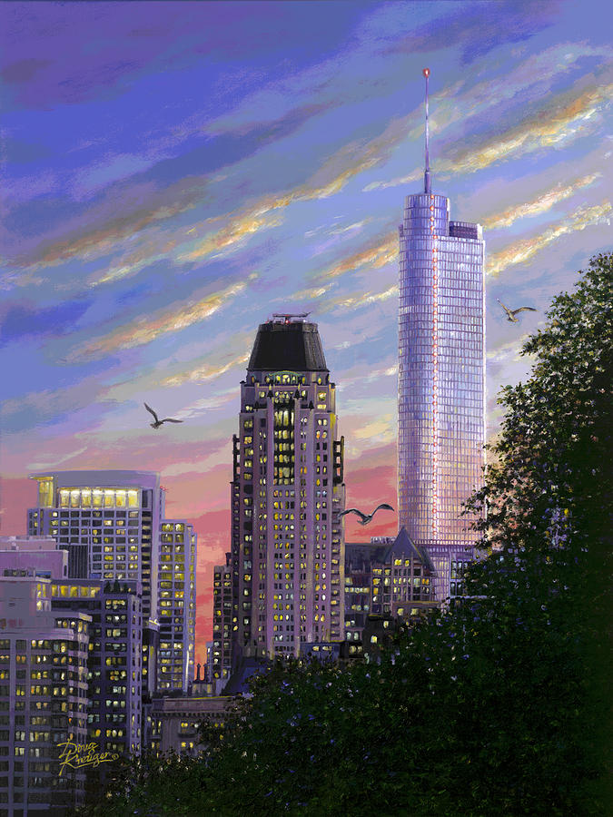 Chicago Skyline Painting - Evening Flight II by Doug Kreuger