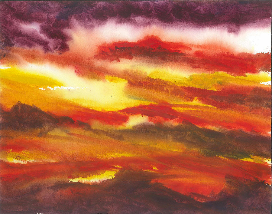 Evening Glow Painting by Karen  Condron