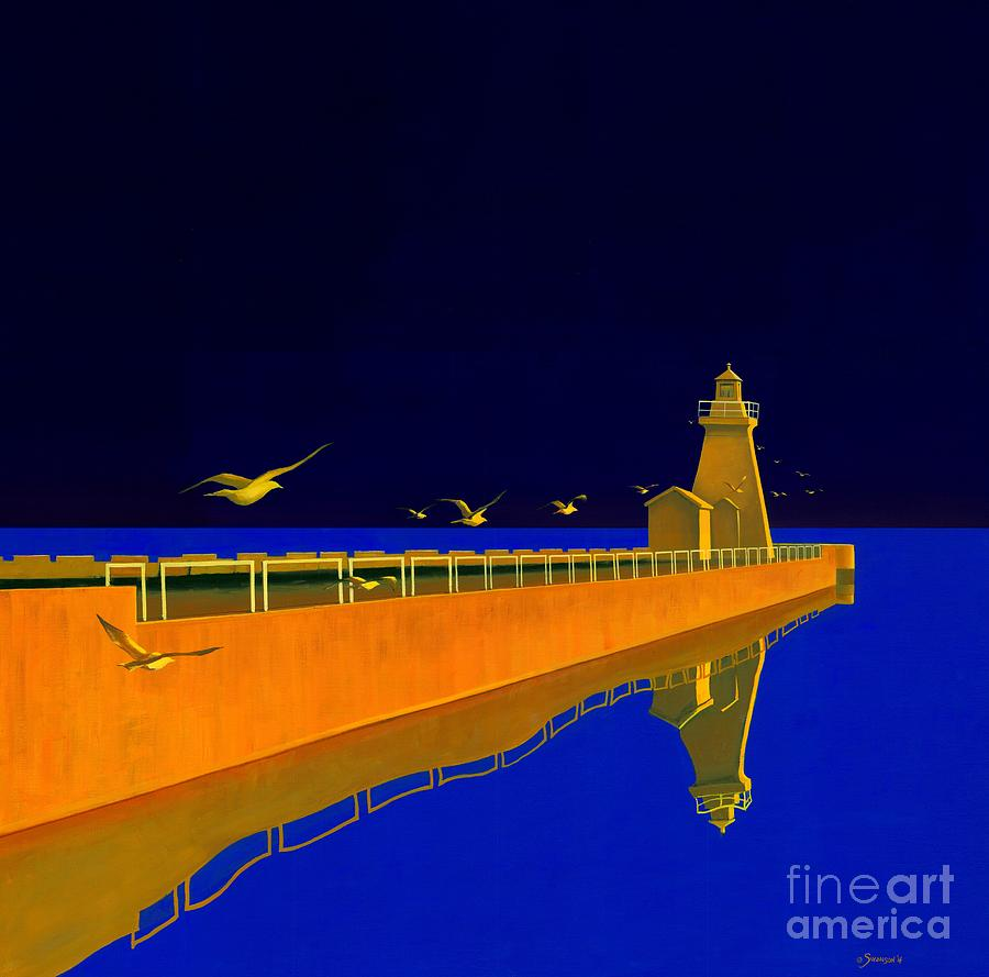 Lighthouse Painting - Evening Glow by Michael Swanson