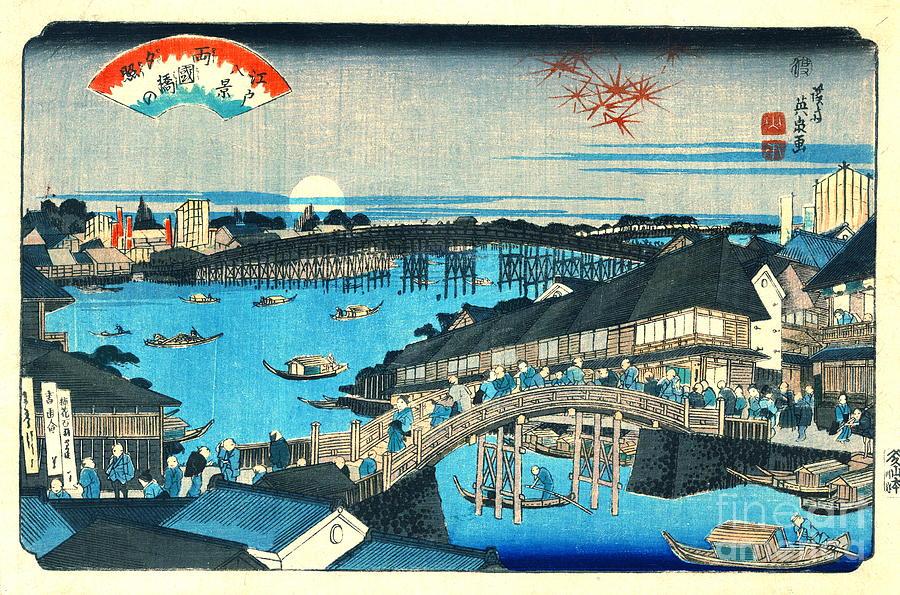 Ukiyo-e Photograph - Evening Glow Ryogoku Bridge 1844 by Padre Art