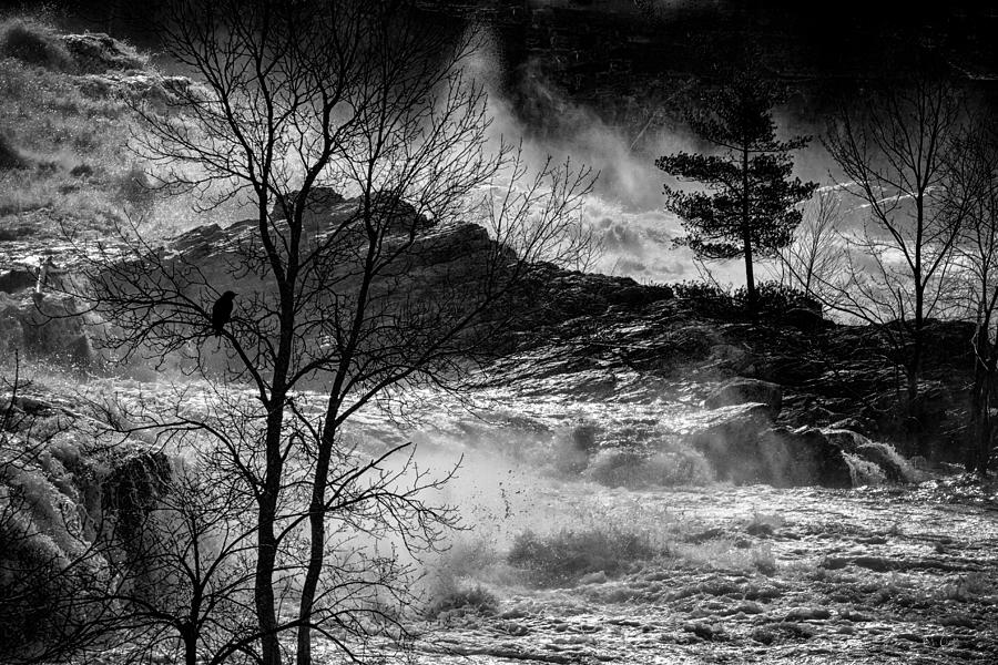 Night Photograph - Evening Great Falls Maine by Bob Orsillo