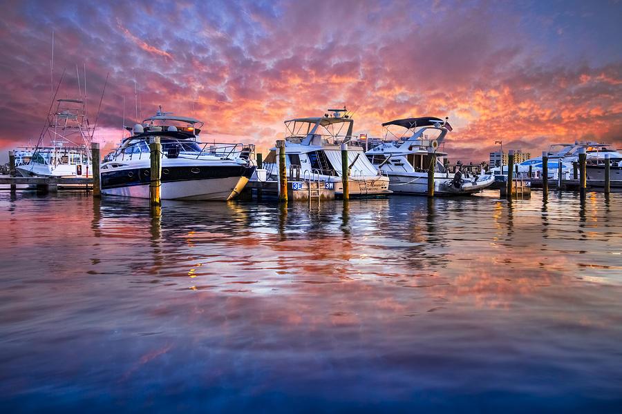 Boats Photograph - Evening Harbor by Debra and Dave Vanderlaan