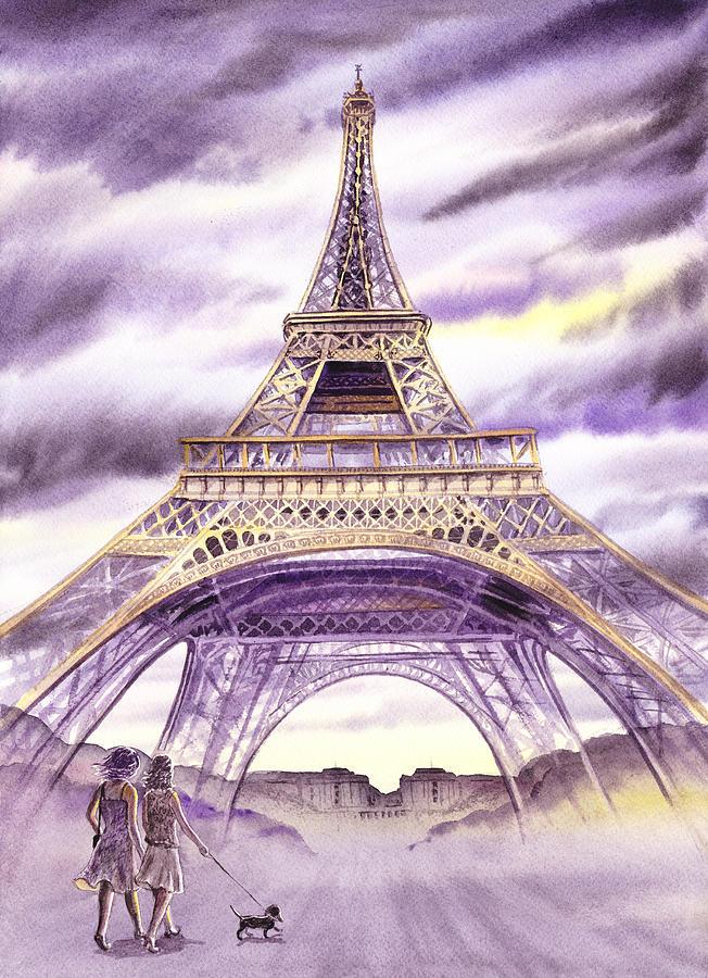 France Painting - Evening In Paris A Walk To The Eiffel Tower by Irina Sztukowski