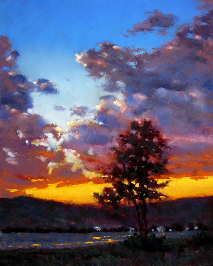 Sunset Painting - Evening in the Valley by Dianna Ponting